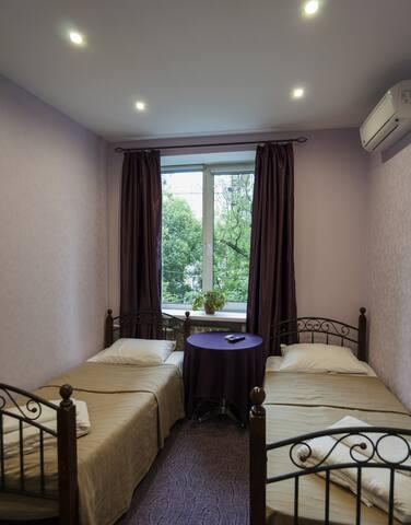 Уютная комната с двумя раздельными кроватями