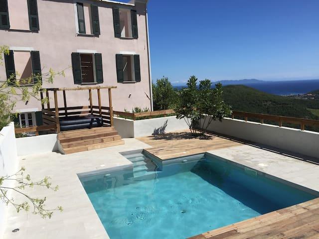 Maison de Maître vue mer piscine - Rogliano