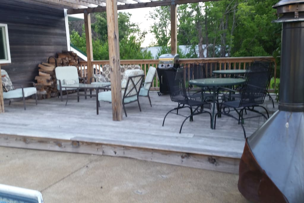Pool deck lounge area and dining area