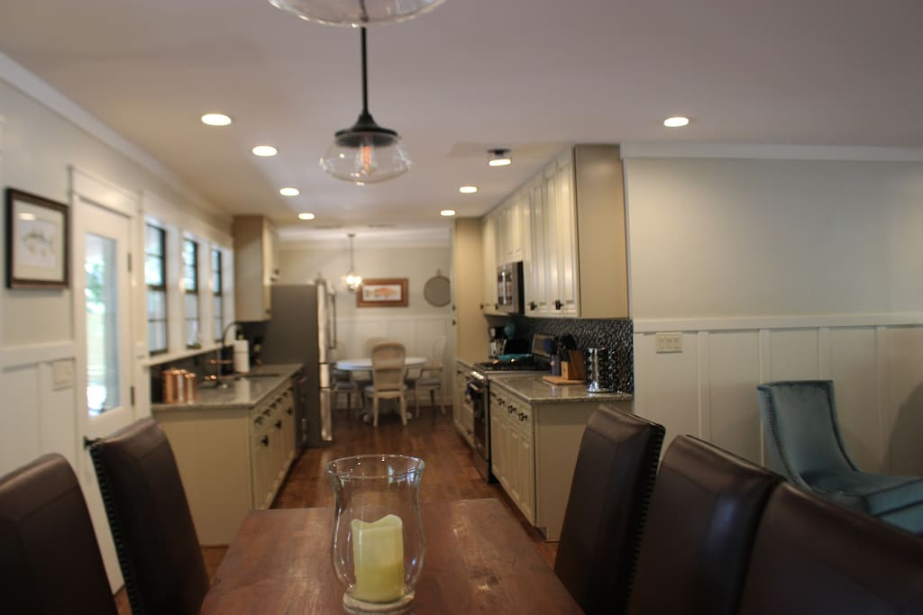 Shot of large gallery kitchen with top of the line Kitchen aid appliances