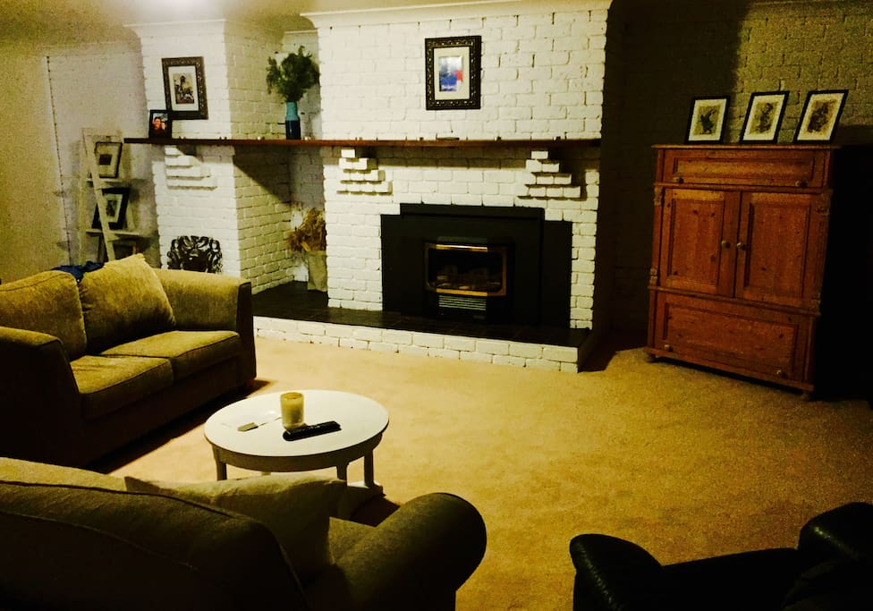Living Room with gas fire heater and air-conditioner