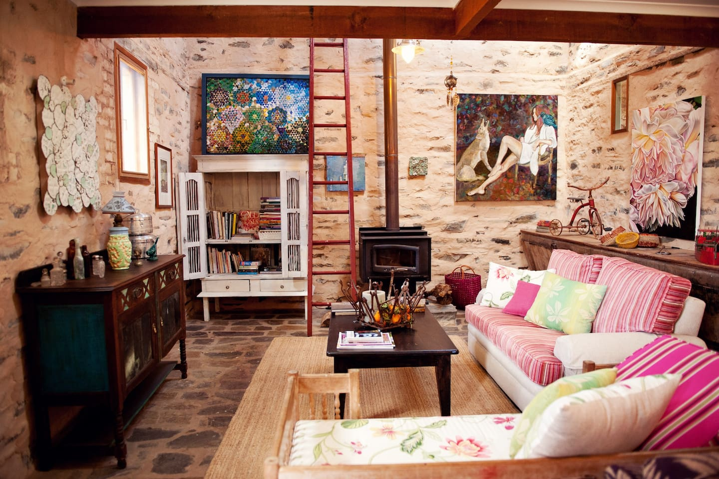 Barn living room has two couch areas