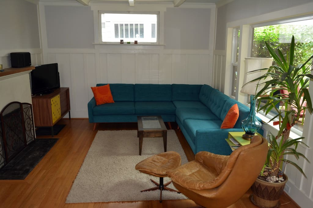 Open living room with L-shaped couch