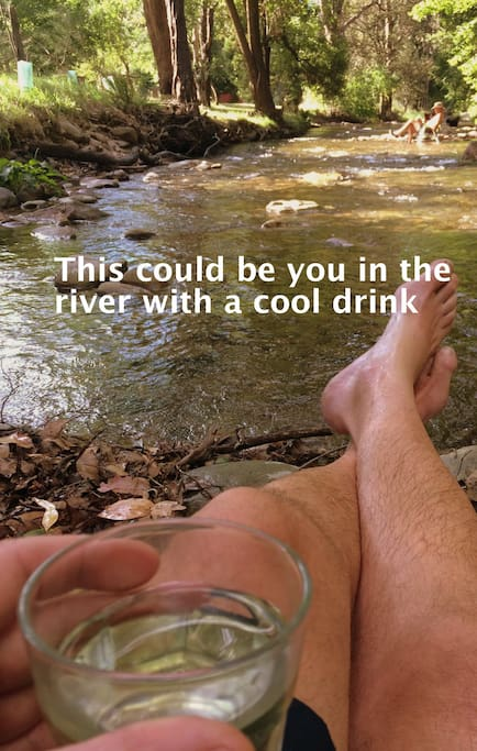 A cold bevvy in the river.