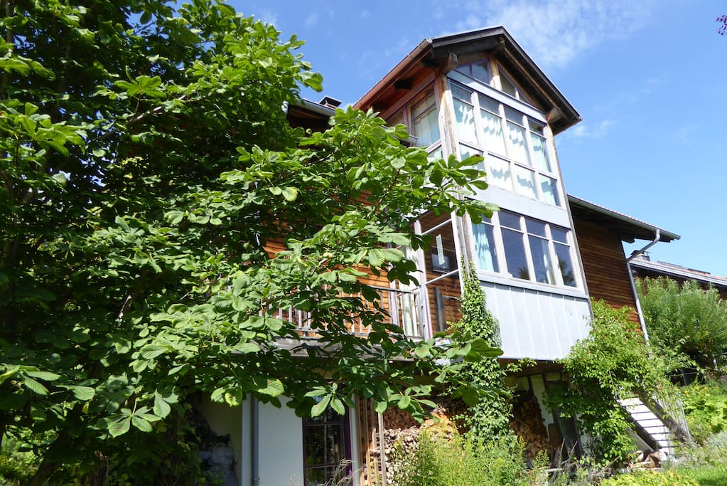 Woodhouse with nice mountain view houses for rent in oy for Big houses in germany