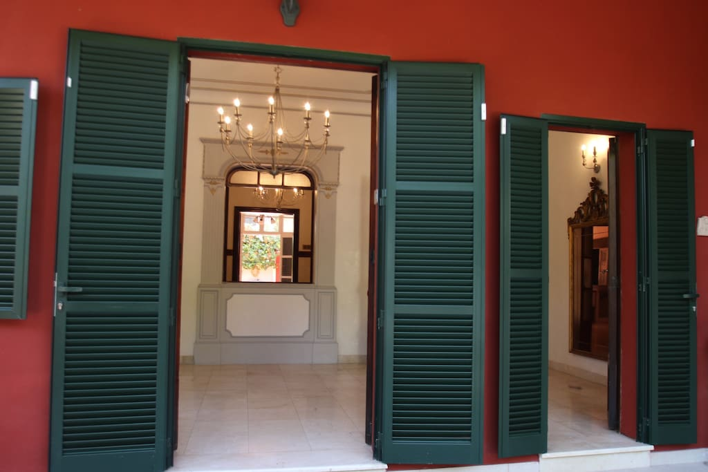 Main entrance with mallorcan shutters.