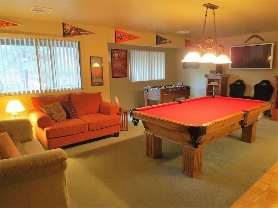Game Room with Pool Table, Foosball, 2 TVs and Custom Bar