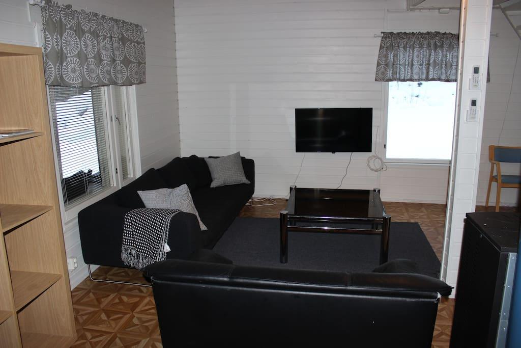 Olohuoneessa kaksi sohvaa, tv, sekä pellettitakka.