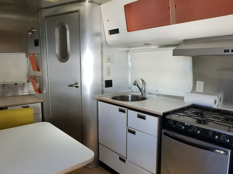 Airstream kitchen & dinning area
