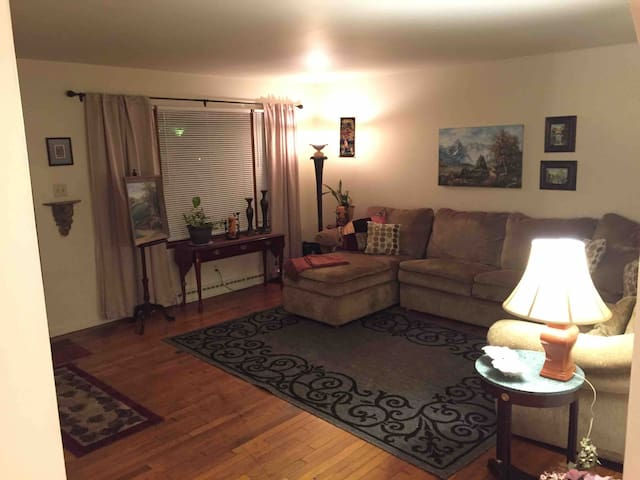 Living Room has Awesome Sectional Sofa, with Recliner, Chaise Lounge, and Pull Out Full Bed in the middle. This room could sleep 4 persons or Kids.