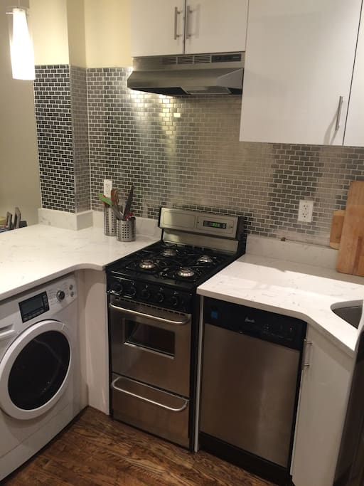 In this picture on the left is the washer/dryer.  Very rare to have in a unit NYC.