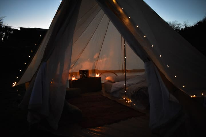 Bell Tent on Welsh farm with stunning views