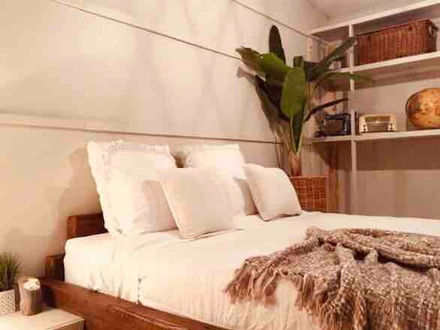 The old chook shed  Queen pillow top  futon style bed to snuggle up in on a cold Adelaide night