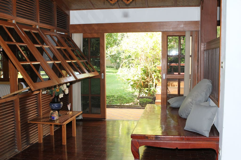Living room with access to garden