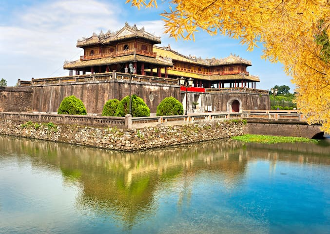 The Imperial City of Hue ~ 2.5 hours away by car. Rich history in the citadel.