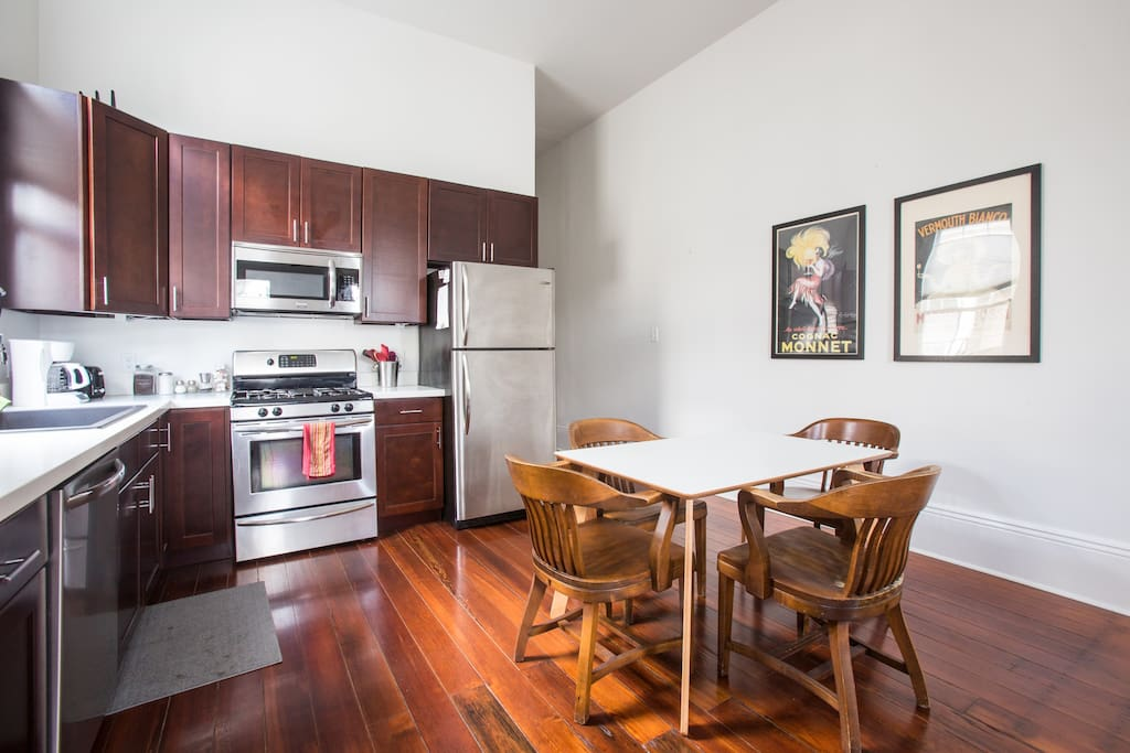 The kitchen is fully equipped and is open to the living room.
