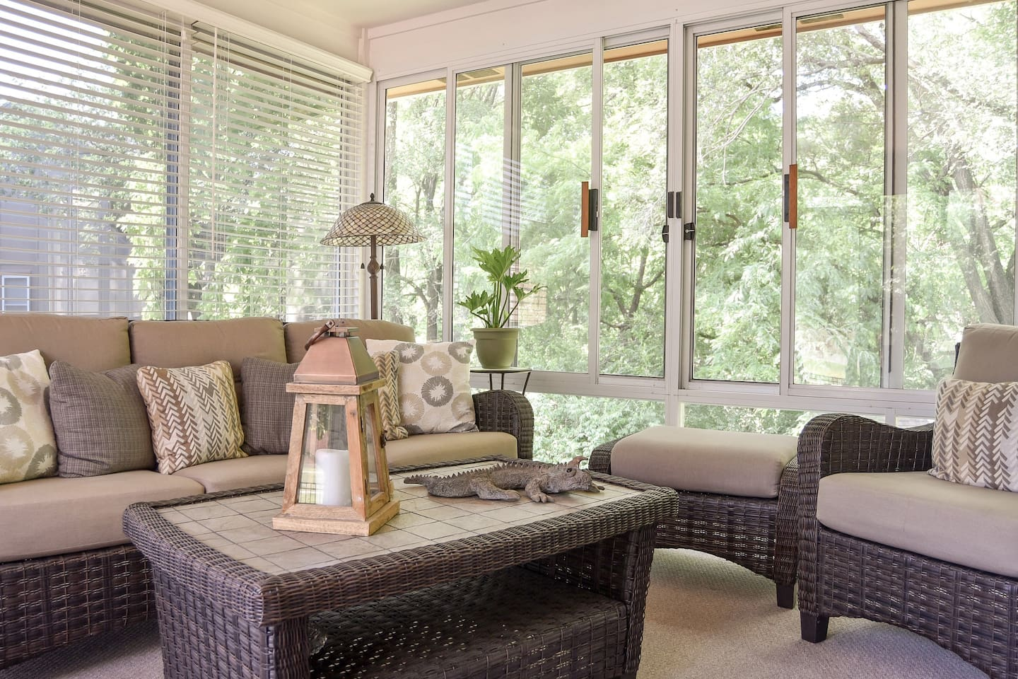 Enjoy your morning coffee or an evening glass of wine in our sunroom.