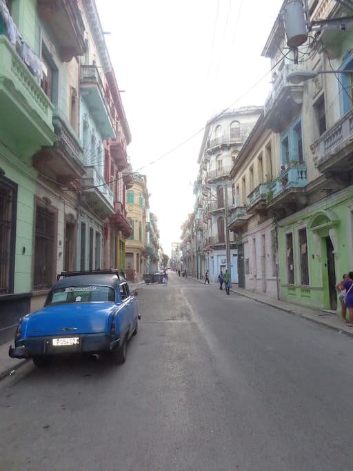 This is the street our home is on. That is Dr. Alexi's car. He can pick you up from the airport for less than a taxi.
