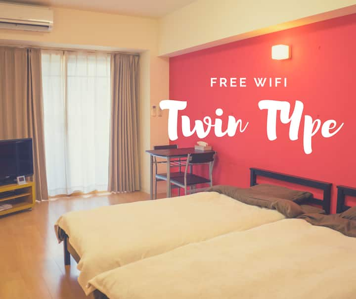Studio Apt【Twin Type】in Taniyama with FREE WiFi