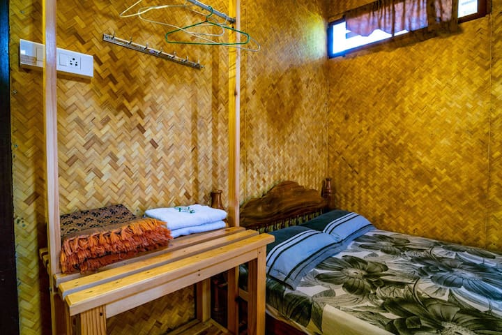 Double Bed Bamboo Hut Private Room and Bathroom