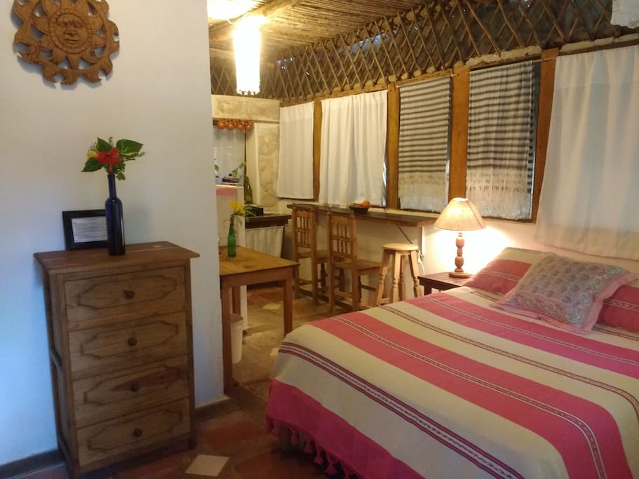 Casitas Kinsol Guesthouse in Puerto Morelos - Room #6 - on the first floor of a hut, with a double size bed