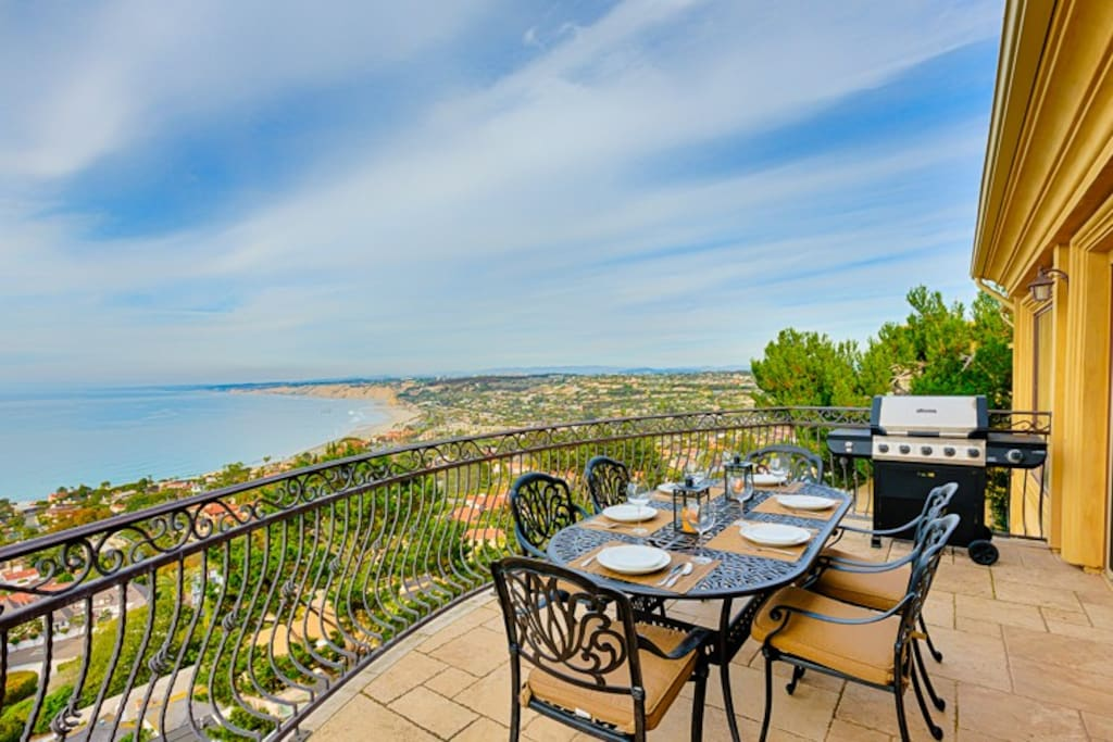 La Jolla ocean view from terrace with dining for 6 and grill.