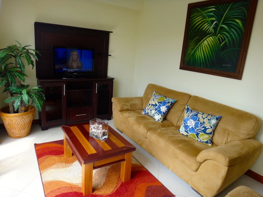 Living room with cable t.v