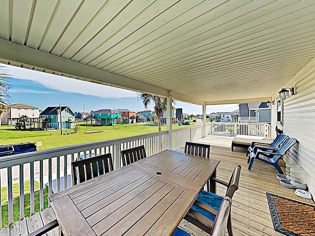 Spend breezy afternoons on the spacious covered deck.