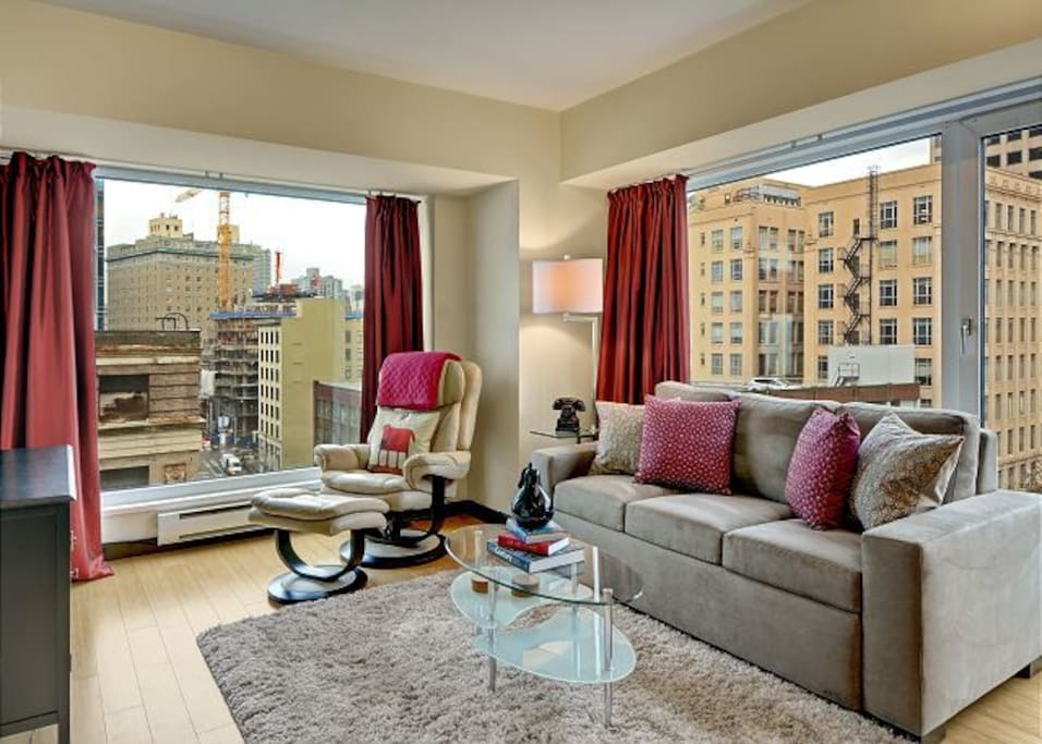 Enjoy the water view from the couch which doubles as a comfortable queen-size sleeper!
