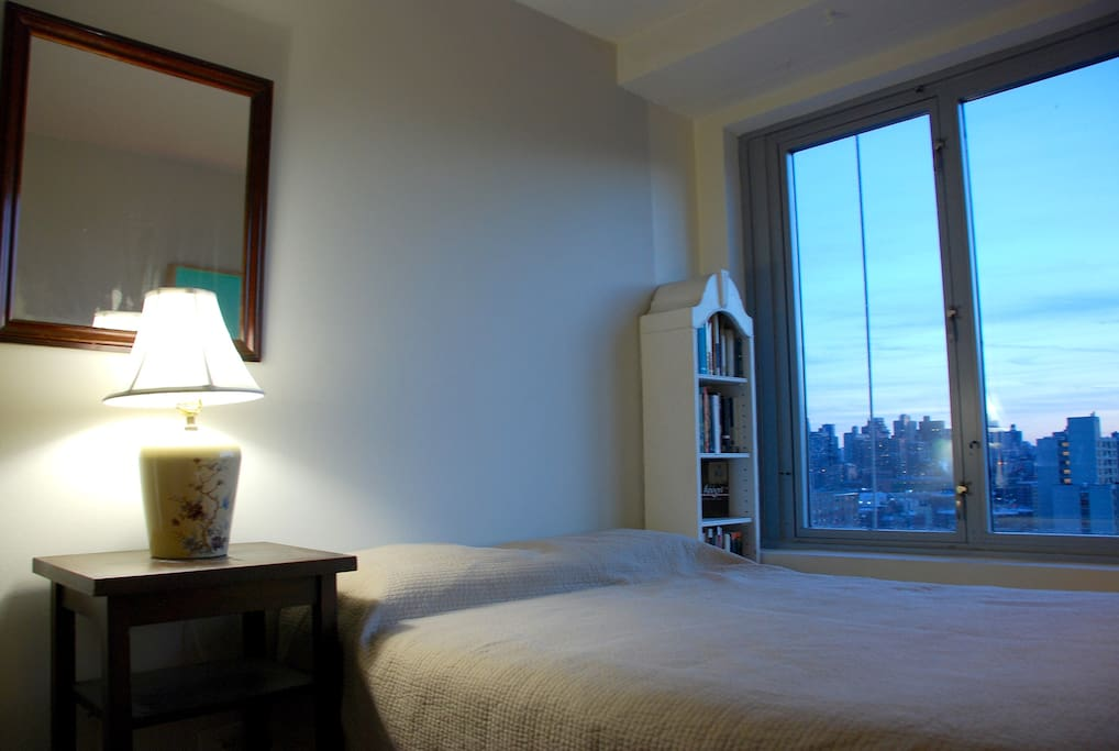 Your beautiful new room! Looking over Central Park from your full size bed through a wall of windows.