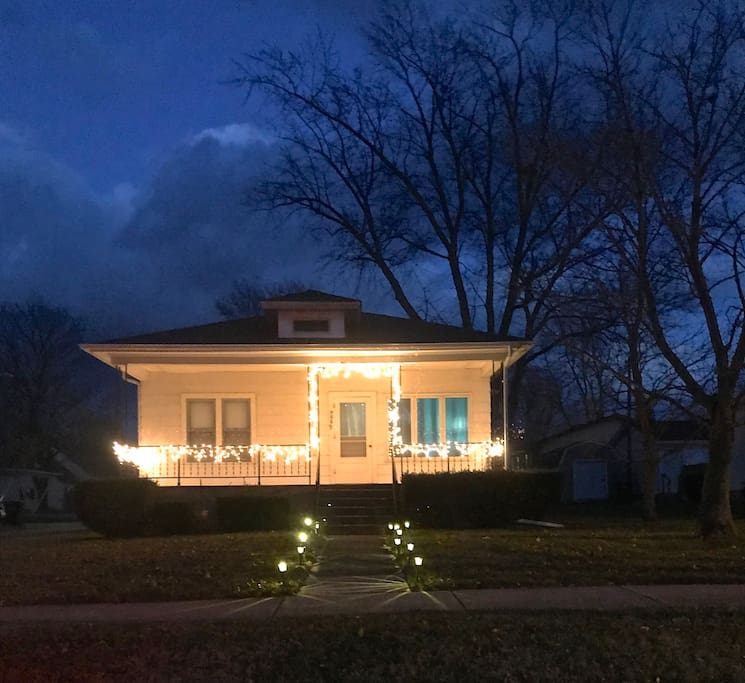 The house at sunset with xmas lights