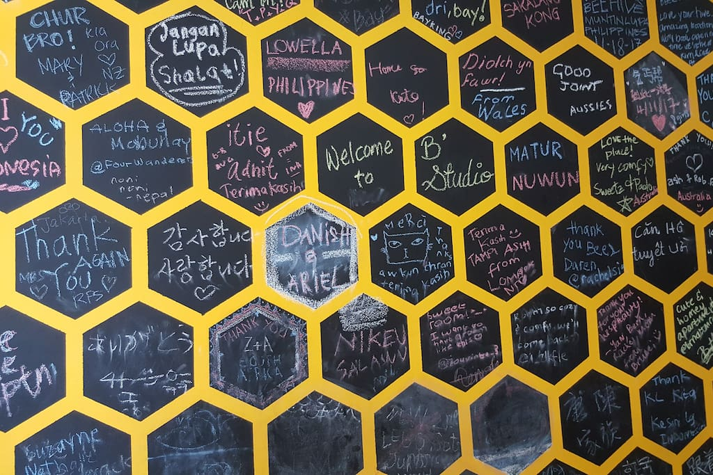 Bee's themed wall for you to say or draw anything :)