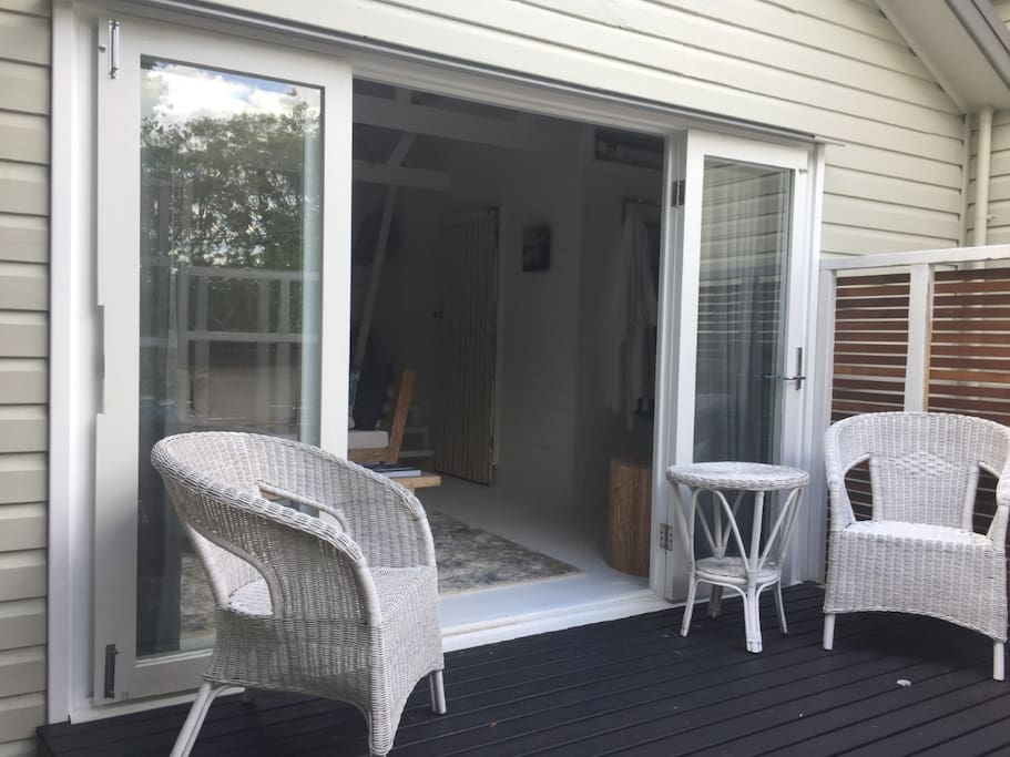 Your own private deck and private access to the studio