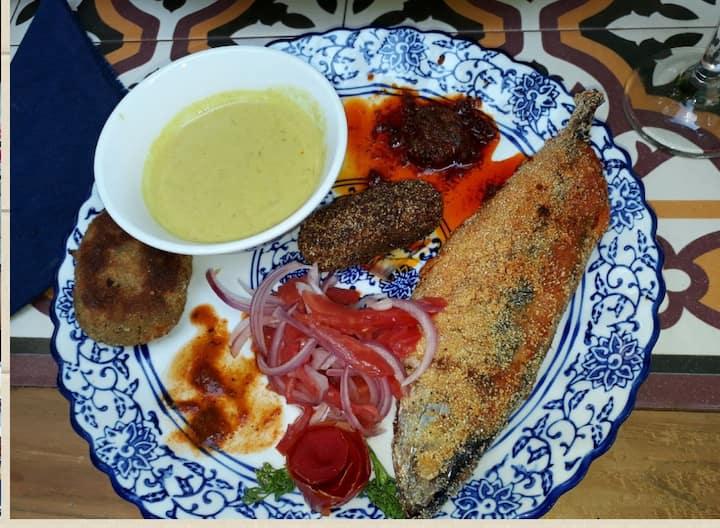A colorful display of seafood tastings
