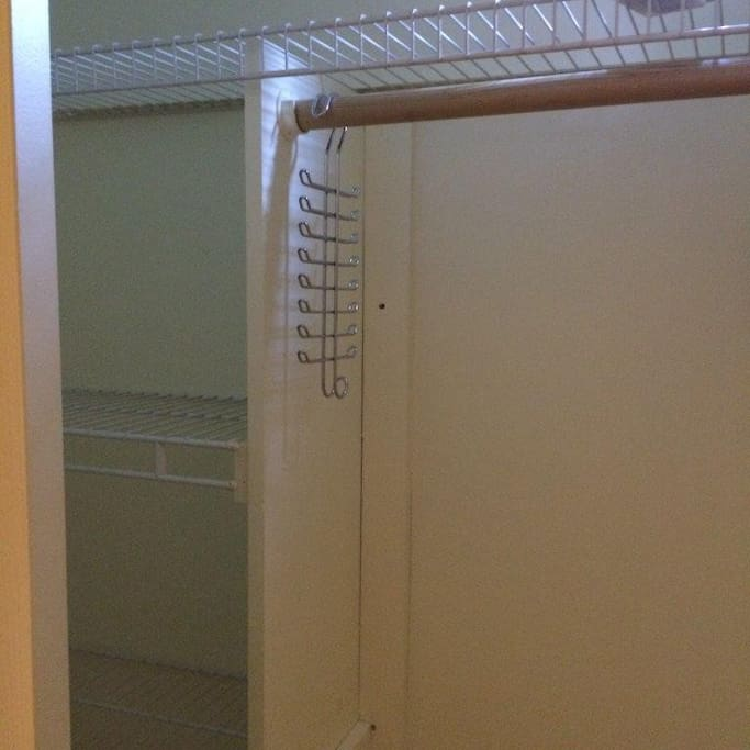 available bedroom shelved full closet