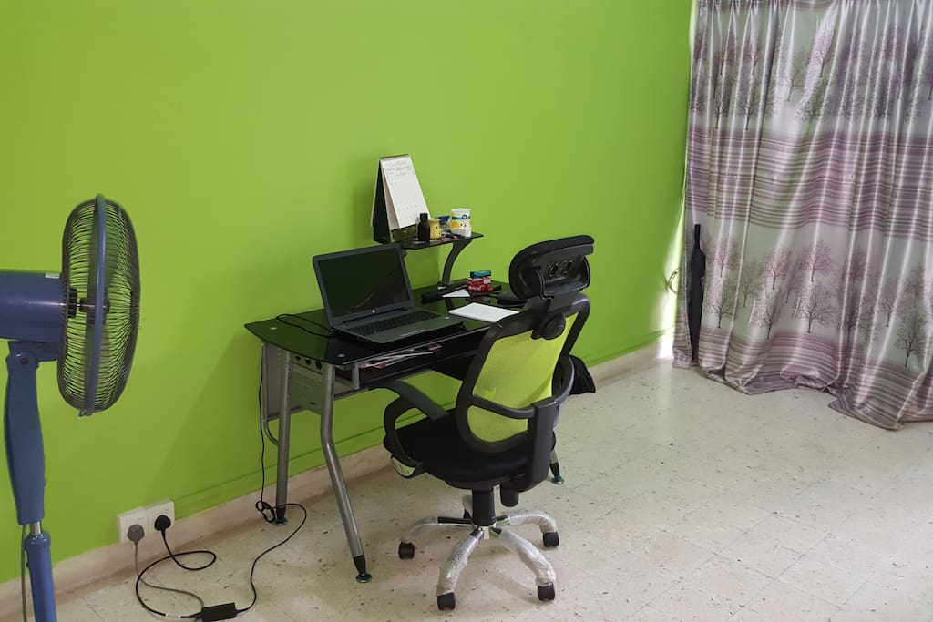 The workspace, right next to the living room