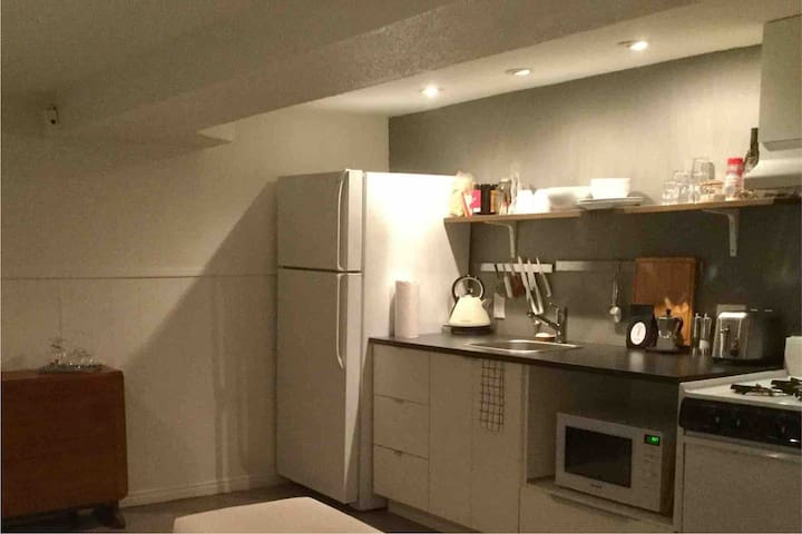 Fully equipped kitchen with microwave, toaster, kettle and basics to prepare a meal.