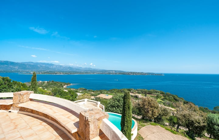 Beautiful villa with panoramic view on sea and mountain