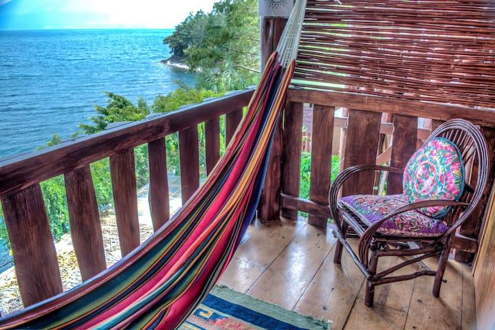 Balcony and hammock.
