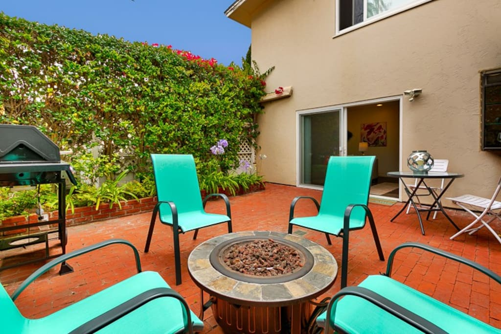 Patio with a fire pit for you to enjoy!