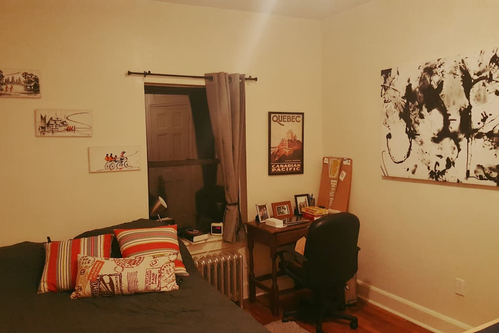 Large Bedroom with Full sized bed, Desk, Large closet and room for an air-mattress should you bring one.