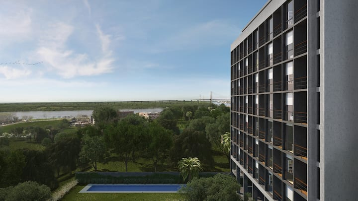 Stunning two bedroom with sweeping river views