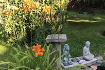 By the fountain; Tiger lilies, a weeping pussy willow and a Japanese maple...