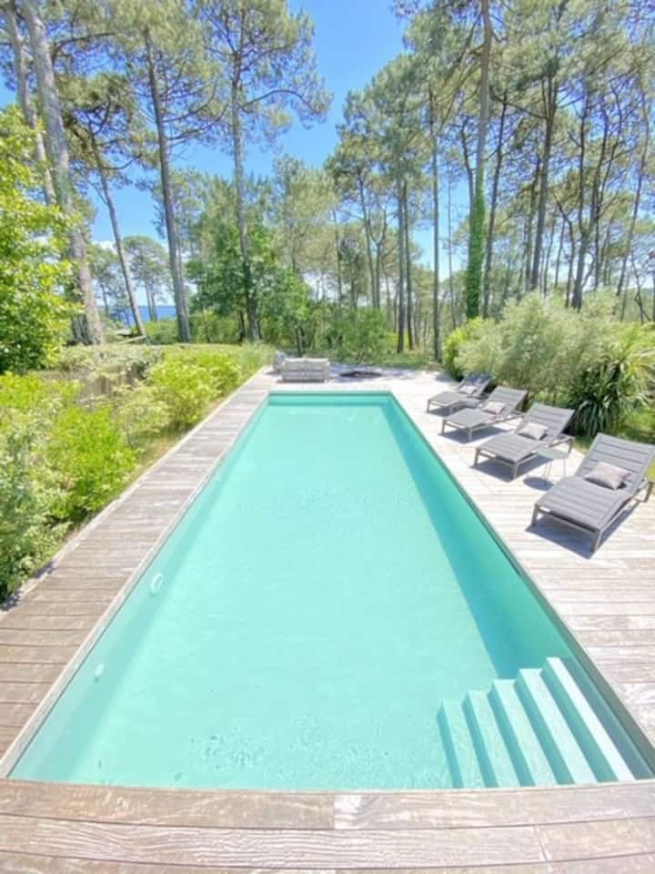 BISCARROSSE HAUTES RIVES - Villa with swimming pool and a view of the lake