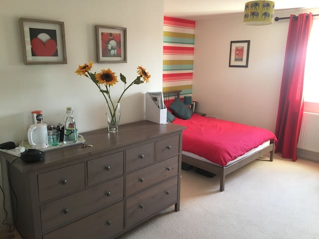 Bright, spacious double room with own bathroom.