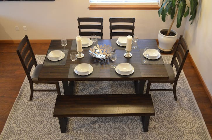 Dining Table. All kitchenware available (staged here)