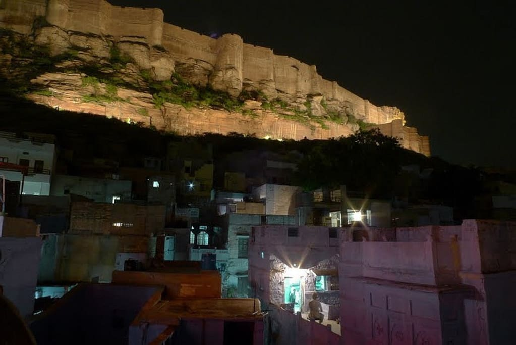 View of Mehrangarh from the roof top in the night