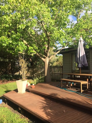 Large deck to enjoy the sunshine, and prepare a bbq meal