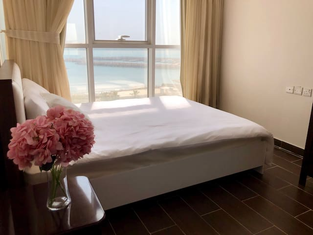 Master bedroom with lovely sea views.