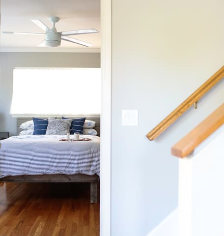 Downstairs master with ceiling fan